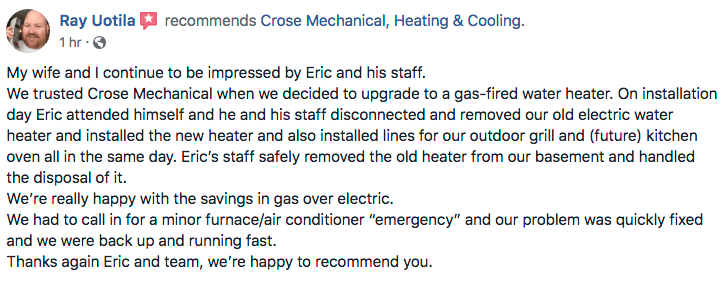Owen Sound heating cooling testimonial
