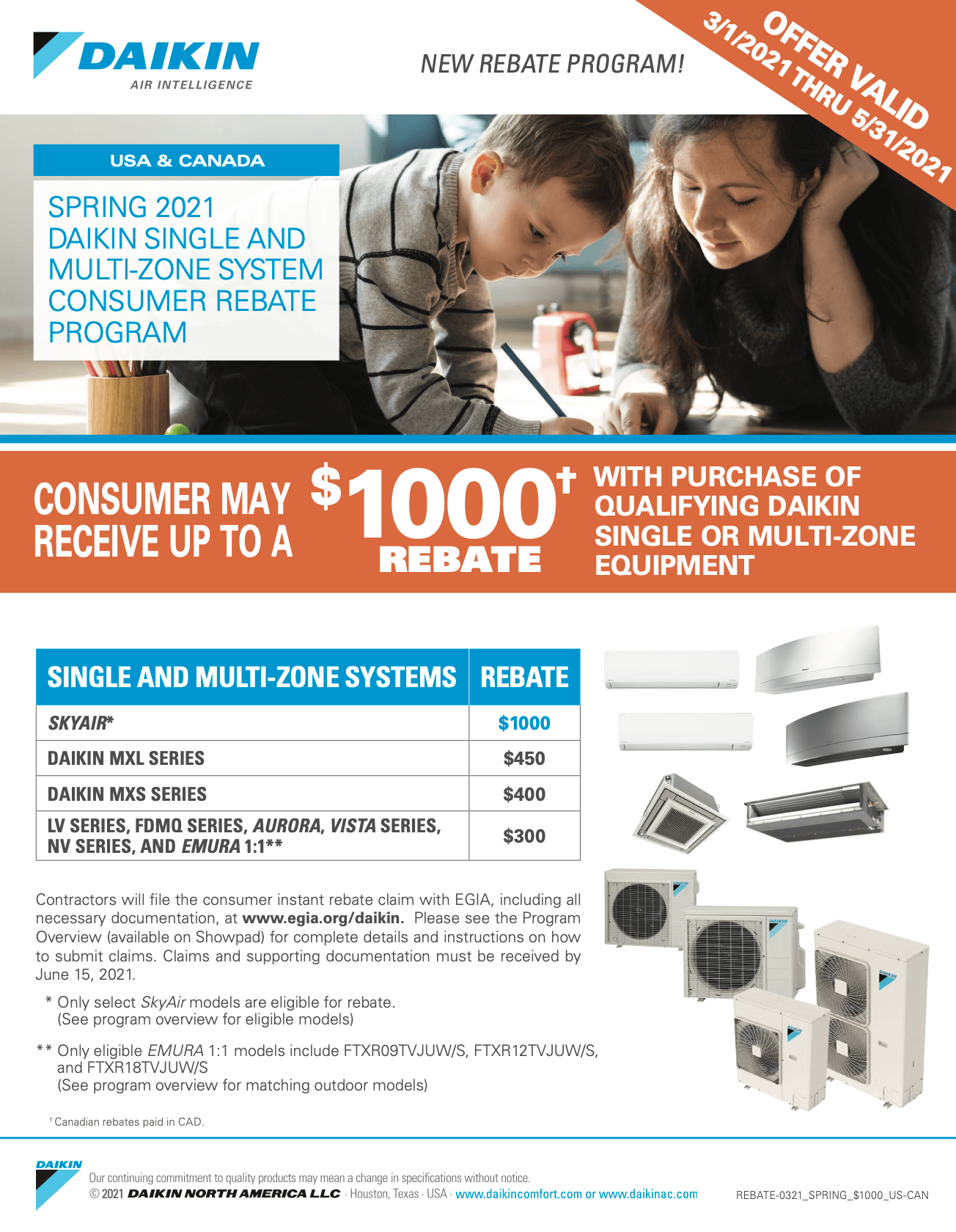 Daikin REBATE SPRING $1000 CAN
